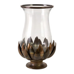 iMax - iMax Lotus Burned Copper Hurricane X-33002 - A burnished copper lotus flower gracefully holds and hourglass hurricane embellished with sleek copper trim.