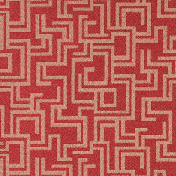Red Geometric Outdoor Indoor Marine Upholstery Fabric By The Yard - This material is an upholstery grade outdoor and indoor fabric. It is stain, water, mildew, bacteria and fading resistant. It is also Scotchgarded for further stain resistance and durability. This material is woven for superior appearance.