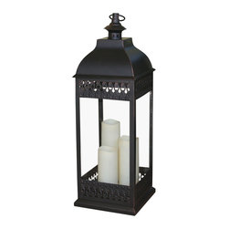 """Smart Solar - San Nicola Triple LED Candle Lantern - Bronze - Battery powered triple pillar LED candle lantern in Antique Bronze finish that is suitable for both outdoor and indoor use. Durable Poly construction with real glass and metal hanging loop. 3 way switch: On / Off / Timer. Timer for 6 hours on/18 hours off so the lantern lights up at the same time each day. Can be placed on any flat surface, or hung with the integrated metal hanging loop. Candles powered by 3 integrated LED's. Lantern measures approximately 9.50""""L x 9.50""""W x 28.25""""H. Requires 2 """"C"""" size alkaline batteries (NOT included)."""