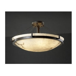 """Justice Design Group - Justice Design Group FAL-9684 Alabaster Stone / Glass Semi-Flush Ceiling Fixture - 36"""" Round Semi-Flush Bowl Ceiling Fixture with Faux Alabaster ShadeOverall Height: 18"""", height is customizable to 30"""", please call for detailsMetal Screen diffuser includedFixture weighs approximately 100 lbs8 75w Max Medium Base A-19 (Bulbs Not Included)"""