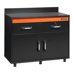 Black & Decker - Black & Decker Garage and Workshop Wide Workcenter - This Black & Decker garage storage cabinet provides a long-lasting work-center with plenty of storage options. The cabinet includes two adjustable shelves and two full-extension shelves for additional storage of tools, garden equipment, and more.