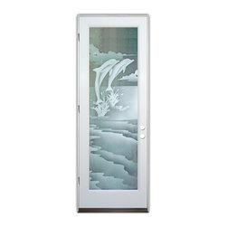 Sans Soucie Art Glass (door frame material Plastpro) - Glass Front Entry Door Sans Soucie Art Glass Dolphins Leaping 2D - Sans Soucie Art Glass Front Door with Sandblast Etched Glass Design. Get the privacy you need without blocking light, thru beautiful works of etched glass art by Sans Soucie!  This glass provides 100% obscurity. (Photo is view from outside the home or building.) Door material will be unfinished, ready for paint or stain.  Bronze Sill, Sweep.  Satin Nickel Hinges. Available in other finishes, sizes, swing directions and door materials.  Tempered Safety Glass.  Cleaning is the same as regular clear glass. Use glass cleaner and a soft cloth.
