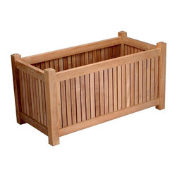 Anderson Teak - 36 in. x 18 in. Planter Box - Unfinished - Add a decorative border to a drab patio or create visual interest along a sidewalk or path.  Rectangular planter box is teak for extreme weather resistance and long-lasting beauty.  It will bring style to any space and is easy to maintain. * Teak wood construction. 35 in. L x 18 in. W x 22 in. H (44 lbs.)
