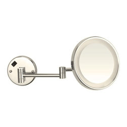 Nameeks - Round Lighted 3x Magnifying Mirror, Satin Nickel - This circular makeup mirror mounts to your bathroom wall .