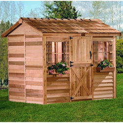 Cedar Shed - Cedar Shed Cabana Cedar Playhouse Multicolor - C96 - Shop for Tents and Playhouses from Hayneedle.com! Constructed from Western Red Cedar for years of durability the attractive and versatile Cedar Shed Cabana Playhouse is just the way to spark your child's imagination encourage creative play and get him or her to enjoy the outdoors. It can also be used as a garden shed pool house backyard retreat or garden house and makes an ideal place for family get-togethers barbeques or for just relaxing with your favorite book.Perfect for the do-it-yourselfer pre-assembled panels of this playhouse arrive to you ready for the finishing touches. All the assembly hardware is included even the necessary drill bit to make your work easier. It comes with a Dutch door and two non-functional windows complete with window boxes and shutters for a chic look. The cedar shingled roof adds to its durability. A worthwhile choice for both children and grown-ups the Cedar Shed Cabana Playhouse offers handy use even after the kids have outgrown it.Dimensions Assembled size is 6L x 9W x 8H feet Dutch door measures 31W x 71H inches Non-functional windows measure 16.25W x 25.25H inches Inside floor size 46 sq. ft. Why Western Red Cedar?The supremacy of Western Red Cedar as an all-weather building material is entirely natural. Along with its beauty stability and endurance Western Red Cedar contains natural oils that act as preservatives to help the wood resist insect attack and decay. Properly finished and maintained Western Red Cedar ages gracefully and endures for many years. Western Red Cedar is non-toxic and safe for all uses. Over time the wood remains subtly aromatic and the characteristic fragrance adds another dimension to the universal appeal of the Cedar Shed products. About Cedar Shed IndustriesSince 1980 Cedar Shed has grown to be one of the largest specialty cedar product manufacturers in the world. They offer top-quality products like gazebos sheds and outdoor furniture al
