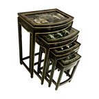 Oriental furnishings - Set of Four Black Lacquer Asian Stacking Tables - Set of 4 oriental rounded front nested tables with inlaid mother of pearl palace design, drawer and glass. This is an excellent value, four tables covered with glass and one has a felt lined drawer in the smallest table. Solid wood construction and lacquered shiny black frame with rich gold pencil moldings and silver painted landscape and inlaid with mother of pearl. This set measures 20 inches by 14 inches by 26 inches high. The largest tables measures 20x14x26. Compact set of 4 tables come in handy when xtra tables are needed to entertain your guest.