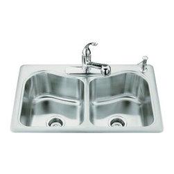 KOHLER - KOHLER K-3369-4-NA Staccato Double-Basin Self-Rimming Kitchen Sink - KOHLER K-3369-4-NA Staccato Double-Basin Self-Rimming Kitchen Sink with Four Faucet Holes