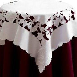 Bess Home Fashions Inc./home Decor - Lily 36-Inch Square Table Topper - Table topper of white matte fabric with white embroidery and cutwork details will add a beautiful touch to any table. The embroidery and cutwork accents the trim on all four edges and forms the central motif of the topper.