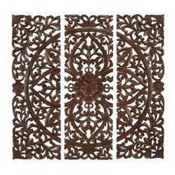 Benzara Hand Carved Wood Wall Panels Sculpture