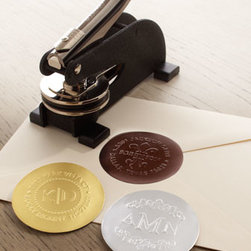 """Three Designing Women - Three Designing Women 64 Foil Seals - Cast metal embosser with the plate of your choice adds a personal touch to your correspondence; embosser plates and foil seals are 2""""Dia. Two-initial embosser imprints your first and last initials and two-line address (up to 20 characters/spaces per li..."""
