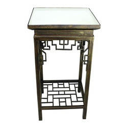 "Asian Side Table with Mirror Top - Antique Faux Brass Iron Asian Side Table with Mirror Inset Top Hand crafted by master craftsmen from iron & mirror. Hand-finished in a multi-step process 16"" square/29"" tall Weight: 25 pounds."