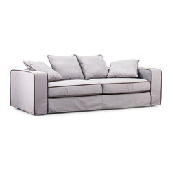 ZUO MODERN - Vasteras Sofa Concrete Gray Body Bark Brown Piping - Vasteras Sofa Concrete Gray Body Bark Brown Piping