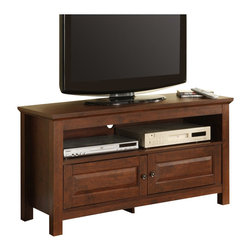 "Walker Edison - Walker Edison 44 Inch Wood TV Console in Traditional Brown - Walker Edison - TV Stands - WQ44CSTB - Elegance and function combine to give this contemporary wood TV console a striking appearance. The design gives a stylish modern look crafted with durable laminate and MDF board. Console will accommodate most flat-screen TVs up to 52"" with center shelving to provide ample space for A/V components. Features: Stylish contemporary design Rich textured finish High-Grade laminate and MDF construction Accommodates most flat-screen TV's up to 52"" Ample storage space for A/V Components Sturdy construction  Ships Ready-To-Assemble  Assembly instructions with online support"