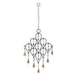 Benzara - Bell Wind Chime with Unique Pattern Design - Bring peace and harmony to your home by adoring this wonderful wind chime. Distinctively designed with elegant features, this metal bell wind chime is sure to adorn your home with grandeur. It is especially designed in a unique pattern of nine inverted pear shapes, which are attached together. The colorful beads that attach the bell to the metal frame enhance the beauty of the wind chime. It produces a light, tinkling sound that creates a scintillating musical effect. It can be hanged inside your home in the entranceway of your hall, living room, or in the outdoor living space like your patio or porch. This metallic wind chime is sure to add a charming ambience to its surroundings with its exclusive design. It adds a great style to your existing decor..