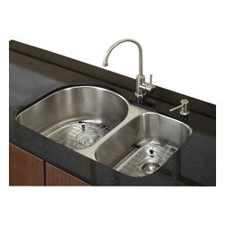Kraus - 30 in. Double Bowl Kitchen Sink with Faucet and Soap Dispenser - Add an elegant touch to your kitchen with unique Kraus kitchen combo