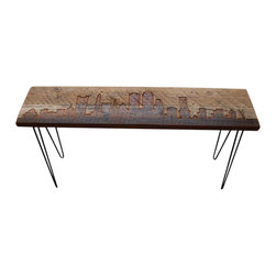 "Urban Wood Goods - Boston Reclaimed Wood Console Table - Standard, 48"" x 11.5"" - Boston reclaimed wood console table features the Boston skyline etched into the top and accented with modern mid-century style hairpin legs. Each Boston skyline table is made of a single board of recycled Douglas Fir from a century old home, barn or building the midwestern USA. Sustainable urban living accent pieces for business or home featuring Boston and other cities."