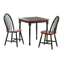 Boraam - Boraam 3 Piece Square Tile Top Set in Black/Cherry - 3 Piece Square Tile Top Set in Black/Cherry by Boraam This classically chic dinette set never goes out of style! Design your room around this set or enjoy the easiness of emerging it with your current interior style. Do notice the evenly laid ceramic tiles on the table top; this allows for easy clean-up! The perfectly square table top leaves you with endless opportunities when finding a proper location for it in your home; kitchen, dining area, den, screened-in porch, office, bedroom, wherever you desire! Included in this set are two classic farmhouse dining chairs. Both table and chairs are constructed with solid hardwood and you in mind! The rungs along the backrest and between the legs of the chair provide comfort and durability. Available in two color finishes; white/natural and black/cherry.
