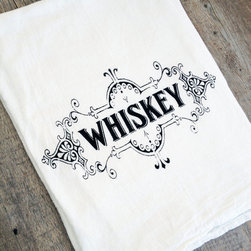 Whiskey High Spirits Tea Towel - Set of 2 - It's good planning to keep a tea towel close at hand to sop up spills at your home bar. It's even better planning to choose this one, which is printed in vintage style with your favorite spirit. Made from cotton flour sack material, it's soft and absorbent for all your little messes.