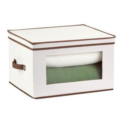 Honey Can Do - Natural Canvas Tall Window Storage Chest - Clear view windows. Quickly identify items inside. Sturdy construction. Holds up to 25 lbs.. Includes stemware inserts. Protects 12 glasses from chips and cracks. 17.625 in. L x 13.5 in. W x 10.625 in. H (3.69 lbs.)Honey-Can-Do SFT-02068 Stemware Storage Chest, Natural/Brown. Store up to 12 goblet-style stemware glasses in this 17x13.5 inch storage box. The clear view window lets you easily see the contents while the lift off lid simplifies access. Protective inserts help safeguard against chips or scratches. Remove the glassware inserts and this storage box turns into a great closet organization tool. Store sweaters, linens, blankets, or seasonal clothing. In classic off-white with brown accents, this stackable storage box will instantly upgrade any pantry or closet. Made of polyester and cotton canvas.