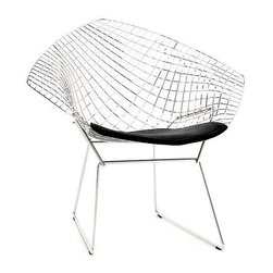 """Bertoia Diamond Lounge Chair   DWR - This glorious wire chair has been in continuous production since 1952, and has earned its modern icon status. Designed by Harry Bertoia, the only thing you risk when sitting upon it is getting """"waffle butt,"""" but it's worth it. Oh, and also, you can buy a chair pad if you don't want to risk it!"""