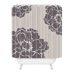 DENY Designs - Caroline Okun Winter Peony Shower Curtain - Who says bathrooms can't be fun? To get the most bang for your buck, start with an artistic, inventive shower curtain. We've got endless options that will really make your bathroom pop. Heck, your guests may start spending a little extra time in there because of it!