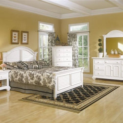 American Woodcrafters - Cottage Traditions Panel Bedroom Set w 5 Draw - Choose Size: TwinCottage Traditions Collection. Bedroom set includes twin or full sized panel bed, small nightstand, 5 drawer chest and a triple dresser with matching dressing mirror. Panel bed includes headboard, footboard, rails and slat pack. Optional trundle unit not included. Bed is double-slotted to accept trundle units. Small nightstand with 1 drawer. Drawer chest with 5 drawers. Triple dresser with 2 doors, 7 drawers and 1 adjustable shelf. Solid wood hardware of knobs in matching finish. Drawers feature conventional dovetailing. Veneer drawer bottoms. Center guided, metal-on-metal, plastic-on-plastic with positive action drawer stops to prevent drawers from being accidentally pulled from cases. Drawers are 14.5 in. front-to-back for ample storage. Corner blocks and cleats are glued and screwed in place. Each case has dust-proofing bottom for clothing protection. Mirror supports are shipped with the product. Beveled glass in mirrors. Signature louvered inserts. Eggshell White with fly-specking finish. Solid Pine, Pine veneer and MDF construction. 1-Year manufacturer's warranty. Twin:. Total: 85 in. L x 46 in. W x 50 in. H (112.5 lbs.). Headboard: 4 in. L x 46 in. W x 50 in. H. Footboard: 4 in. L x 46 in. W x 27 in. H. Rails: 77 in. L x 1 in. W x 5.38 H. Full:. Total: 85.38 in. L x 61.25 in. W x 56.25 in. H (125.6 lbs.). Headboard: 3.75 in. L x 61.25 in. W x 56.25 in. H. Footboard: 4.63 in. L x 61.25 in. W x 30 in. H. Rails: 77 in. L x 1 in. W x 5.38 H. Small nightstand: 16.63 in. D x 26.88 in. W x 25.63 in. H (55.1 lbs.). 5 Drawer chest: 18.63 in. D x 38 in. W x 53 in. H (139.1 lbs.). Triple dresser: 19 in. D x 70 in. W x 37 in. H (195.7 lbs.). Dressing mirror: 2.63 in. D x 44.38 in. W x 46 in. H (48.7 lbs.)