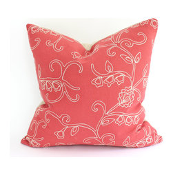 The Pillow Studio - Embroidered Decorative Pillow Cover in Faded Raspberry Red Linen - Embroidered Decorative Pillow Cover in Faded Raspberry Red Linen-- I love this contemporary take on an embroidered pillow.