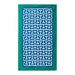 "Jonathan Adler - Jonathan Adler Mykonos Blue Beach Towel - Jonathan Adler's Mykonos beach towel delivers a bold graphic design. Plush and oversized, this terry cloth cover captivates in a bright green, blue and white Greek key pattern. 40""W x 70""H; 100% cotton; Hand-dyed; Machine wash warm"