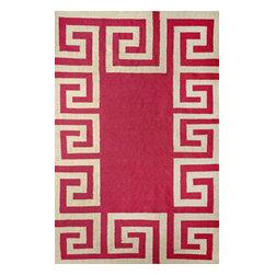 nuLOOM - nuLOOM Indoor/ Outdoor Flatwoven Greek Key Synthetics Rug, Fuschia, 8.6'x11.6 - Material: 100% Polyester