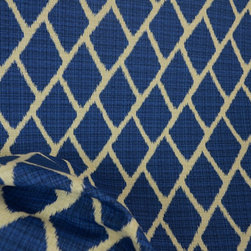 Kauf - Sanur Cobalt Blue Diamond Fabric By The Yard - Sanur Cobalt Blue Diamond Fabric is a kaufman fabric. Diamond ikat fabric that is great for light upholstery.