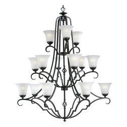 Progress Lighting - Progress Lighting P4268-84 1Five-Light Chandelier With Etched Watermark Glass - Fifteen-light, three-tier chandelier in a deep Espresso finish featuring a superb blend of black and brown tones. Fixture offers a stunning contrast of metalwork with sculpted, etched watermark glass shades.