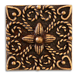 "Compliments Accessories - Andrea Tile - Old world Florentine design 1x1"" tile in an Aged Brass finish"