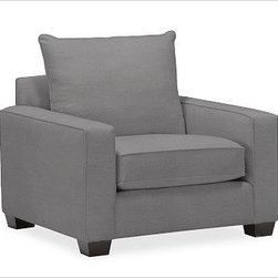 """PB Comfort Square Upholstered Grand Armchair, Knife-Edge Cushion, Down-Blend Wra - Built by our own master upholsterers in the heart of North Carolina, our PB Comfort Square Upholstered Grand Armchair is designed for unparalleled comfort with deep seats and three layers of padding. 42.5"""" w x 42"""" d x 39"""" h {{link path='pages/popups/PB-FG-Comfort-Square-Arm-4.html' class='popup' width='720' height='800'}}View the dimension diagram for more information{{/link}}. {{link path='pages/popups/PB-FG-Comfort-Square-Arm-6.html' class='popup' width='720' height='800'}}The fit & measuring guide should be read prior to placing your order{{/link}}. Choose polyester wrapped cushions for a tailored and neat look, or down-blend for a casual and relaxed look. Choice of knife-edged or box-style back cushions. Proudly made in America, {{link path='/stylehouse/videos/videos/pbq_v36_rel.html?cm_sp=Video_PIP-_-PBQUALITY-_-SUTTER_STREET' class='popup' width='950' height='300'}}view video{{/link}}. For shipping and return information, click on the shipping tab. When making your selection, see the Quick Ship and Special Order fabrics below. {{link path='pages/popups/PB-FG-Comfort-Square-Arm-7.html' class='popup' width='720' height='800'}} Additional fabrics not shown below can be seen here{{/link}}. Please call 1.888.779.5176 to place your order for these additional fabrics."""