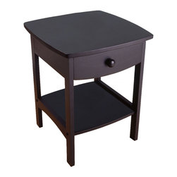 Winsome - Curved End / Night Table - Black - Elegantly simple, this night stand has room for all the necessary nighttime accessories. Its curved, smooth design blends well with any style of bedroom decor. Assembly Required.