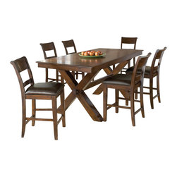 Hillsdale Furniture - Hillsdale Park Avenue 7 Piece Counter Height Table Set in Dark Cherry - Sturdy and stylish the Hillsdale Park Avenue counter height dining set is a fabulous addition to your home.  The ample sized trestle style dining table comfortably seats  6-10, perfect for those with large families or who like to entertain. The non-swivel stools are reminiscent of traditional ladder back style with a hint of transitional design in the wide top slat and easy to care for brown faux leather seat.  Last but not least the distressed dark cherry finish adds warmth to this handsome dining group. Some assembly required.