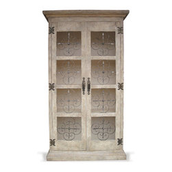 Iron Clover Bookcase, French Blanc with Weathered Grey - Iron Clover Bookcase, French Blanc with Weathered Grey
