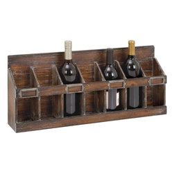 Benzara - Wine Rack with 7 Bottles Hold of Standard Size - Appealing and versatile are two words that are perfect for this wood wine rack. Now you can keep your exquisite wine collection in this sturdy rack for an attractive display. It can hold in any standard size bottle of wine and looks perfect to be displayed above your bar countertop or in any open space. It is an exclusive wine rack holder with 7 bottle racks with a solid wood base. Bring it home to add a creative and stylish look to your decor. It is made up of solid wood and finished with bold, rich chocolate brown color finish. Its sturdy construction ensures durability and a long life with consistent appearance. This wooden wine rack will add to the decor of your room and impress your guests too.