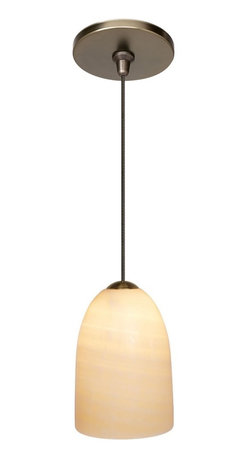 """LBL Lighting - Traditional LBL Onyx Dome Bronze Pendant Light - An elegant cream colored onyx monopoint bronze pendant light. This pendant features genuine onyx in a dome shape with bronze finish hardware. This light will add a warm touch to your graceful home decor bringing a traditional look. From the Onyx collection. Dome shaped pendant. Bronze finish. Genuine onyx. Includes one 50 watt low voltage Xenon bulb. Includes 6 feet of field-cuttable suspension cable. Dome is 6"""" high 4"""" wide.  From the Onyx collection.  Dome shaped pendant.  Bronze finish.  Genuine onyx.  Includes one 50 watt low voltage Xenon bulb.   Includes 6 feet of field-cuttable suspension cable.   Dome is 6"""" high 4"""" wide."""
