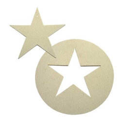 The Felt Store - Designer Felt Star Value Pack - 2 Single Stars And 2 Circle Stars - The Felt Store presents the decorative star.  This handy decorative item is the perfect craft accessory, home decor item or tree ornament and is made of a high quality felt.  Whether you choose our single star which is 4.75 inches wide and 0.13 inches thick or our circle star cut out which has a diameter of 6.75 inches and is 0.13 inches thick, the decorative star is great for any time of the year and is machine washable.