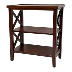"Oriental Furniture - 26"" Architectural Book Case Table - Cherry - A solidly constructed shelving unit with criss-cross framework side panels. Table top surface has a slight lip around the edge while lower shelves are flat. Perfect height for an end table, nightstand or telephone table."