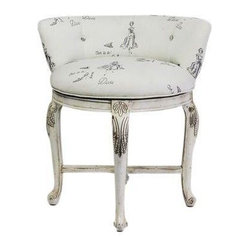 Vanity Chair in Diva Print Fabric