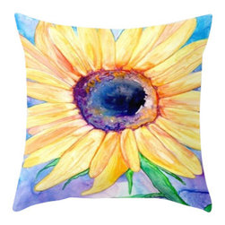 Brazen Design Studio - Decorative Pillow Cover - Floral Sunflower - Throw Pillow Cushion, 16x16 - Liven up your space with a fine art pillow cover featuring my original artwork! This listing is for one pillow cover featuring my vibrant watercolor painting, on 100% spun designer polyester poplin fabric, a stylish statement to brighten up any room.