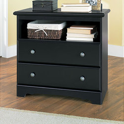 None - New Visions by Lane Manor Hill Hall Chest - This Lane Manor Hill hall chest offers open shelf area storage or display.  The chest also has two drawers on metal guides to provide ample storage.