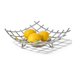Spectrum Diversified Designs - Dunbar Grid Fruit Bowl - Display your fruits and vegetables in style with the Dunbar Fruit Bowl. This fruit bowl will make a great centerpiece in numerous places throughout your home, while its a great accent piece for use in hotels, restaurants and offices as well. Made of sturdy steel, its simple design will add a modern touch to your home.