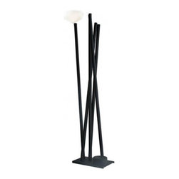 "Martinelli Luce - Martinelli Luce Zulu Floor Lamp - The Zulu Floor       Lamp      by Martinelli Luce has been designed by Emiliana  Martinelli.  It is made from 190 cm high black lacquered aluminum construction and  provides indirect lighting space with halogen sources transformed  voltage to 12V. As the name itself suggests lamp (Zulu - African ethnic  group), inspiration Emiliana Martinelli looking at African culture.    Product description: The Zulu Floor      Lamp      by Martinelli Luce has been designed by Emiliana  Martinelli. It is made from 190 cm high black lacquered aluminum construction and provides indirect lighting space with halogen sources transformed voltage to 12V. As the name itself suggests lamp (Zulu - African ethnic group), inspiration Emiliana Martinelli looking at African culture.   Details:                                     Manufacturer:                                      Martinelli Luce                                                     Designer:                                     Emiliana Martinelli                                                     Made in:                                     Italy                                                     Dimensions:                                      Height: 74.8"" (190 cm)                                                                   Light bulb:                                      2 X G4 Max 35W Halogen + 3 X GY6.35 Max 35W Halogen                                                                  Material:                                      Aluminium"