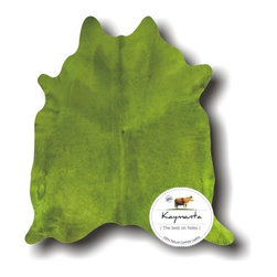 Kaymanta - Colored! Green Lime Hair on Natural Cow Leather Rug, Luxury Cowhide Rug - Item: Natural Cowhide Rug