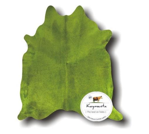 Kaymanta - Colored! Green Lime Hair on Natural Cow Leather Rug, Luxury Cowhide Rug - Item: Natural Cowhide Rug