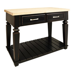 "Aged Black Island with Two Drawers/Bottom Shelf - This island features two drawers on one side and a bottom shelf for additional storage. Drawers feature full extension soft-close slides.  Coordinating decorative hardware is included.  Maple grain butcher block top is 1 3/4"" thick."