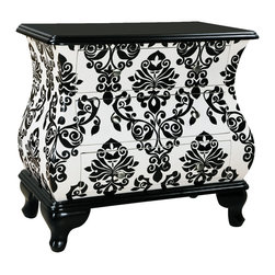 None - Hand Painted Distressed Black and White Finish Bombay Accent Chest - This hand painted distressed black and white finish Bombay accent chest features three functional drawers for storage. The chest offers elegant nickel finished hardware