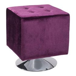 Armen Living - Pica Square Ottoman, Purple - Unmistakably posh button-tufting detail enhances the distinguished silhouette of this updated classic.
